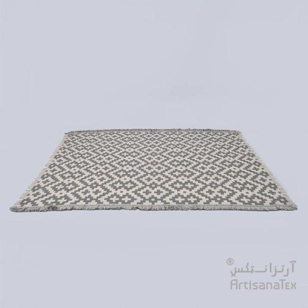 1-Arabesk-Tapis-Zarbia-Carpet-gris-coton-cotton-artisanat-artisanatex-tunisie-tunisia